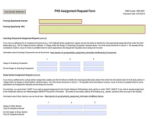 An image of the NIH Assignment Request Form page.  Source: OER/NIH